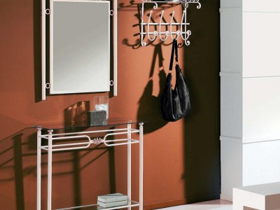 IRON STYLE HALL TABLE WITH MIRROR & COAT RACK – FORJA